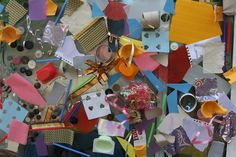 Make a collage on contact paper (hanging on a wall or window) with all sorts of scraps and junk. :)