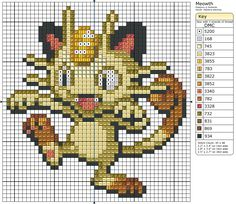 Meowth Pokemon  free cross stitch pattern