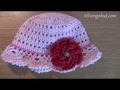 [Crochet Hat] Hướng dẫn móc mũ tiểu thư vành khuyết (note: hai dòng đầu sửa lại là 8x, 8v) - YouTube
