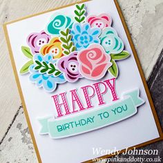 Happy Birthday card using Fab Flowers by Lawn Fawn
