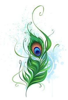 Illustration of Arts painted a colorful peacock feather on a white background stained watercolor paint vector art, clipart and stock vectors. Peacock Wall Art, Peacock Feather Tattoo, Feather Drawing, Feather Vector, Feather Art, Feather Tattoos, Nature Tattoos, Peacock Feathers Drawing, Cage Tattoos