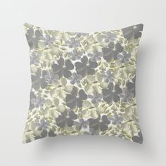 Gray and Chartreuse Floral Pattern Throw Pillow by julianaswensondesigns Grey Throw Pillows, Couch Pillows, Designer Throw Pillows, Down Pillows, Pillow Design, Pillow Inserts, Floral, Pattern, Gray