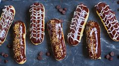 These chocolate coffee eclairs are made with classic pate a choux, creamy coffee filling and dipped in chocolate! Chocolate Coffee, Chocolate Ganache, White Chocolate, Tatyana's Everyday Food, Tres Leches Cake, Pasta, Eclairs, Coffee Cake, Baking