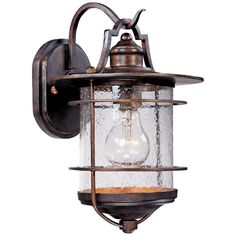 Franklin Iron Works Industrial Rustic Outdoor Light Fixture Vintage Bronze Clear Seedy Glass for Exterior House Porch Patio Outdoor Wall Lighting, Exterior Lighting, Outdoor Walls, Lighting Ideas, Garage Lighting, House Lighting, Solar Powered Lights, Solar Lights, Outside Lights On House