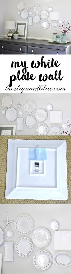 My white plate wall plus the cheater's way of hanging plates! #platewall #whiteplates #hangingplates