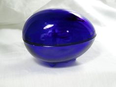 Vintage Plain Cobalt Blue Glass Egg Westmoreland Footed Trinket Box Dish 2 Piece