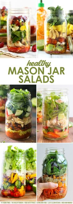 Healthy Spring Mason Jar Salads --The perfect way to transport healthy, nutrient-packed salads to work... and they're gorgeous, delicious, and totally satisfying. // via Nosh and Nourish