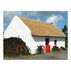 Irish Cottage, Old Cottage, Cottage Homes, Stone Patio Designs, Tudor Style Homes, Unusual Buildings, Thatched Roof, Stone Houses, My Dream Home