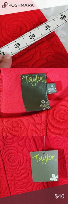 NWT Taylor Red Jackard Rose Fit Flare Dress Size 8 New with Tags knit jacquard dress. Three-quarter sleeve. Fit and flare shape.  Size 8.  Sweet yet sexy.  Perfect for Valentine's Day!  Terrific for office to evening.  Just above knee length.  See photos for measurements. Taylor Dresses Midi