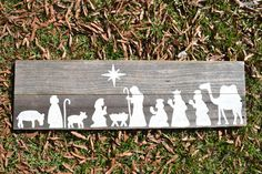 Nativity Scene Painting on Wooden Panel - potential DIY project? Would make for a nativity without worrying the cat will carry off baby Jesus. Christmas Nativity, Noel Christmas, Christmas Signs, Christmas Projects, All Things Christmas, Winter Christmas, Christmas Decorations, Christmas Ornaments, Xmas