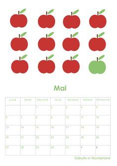 """Gabulle in Wonderland:  """"pommes """" du mois de mai (calendar may apples)  http://gabulleinwonderland.blogspot.fr/"""