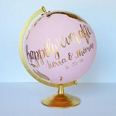 Wedding guestbook globe, hand painted by www.considertheworld.com