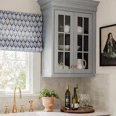 Gray Blue Kitchen Cabinets with Gray Backsplash Tiles