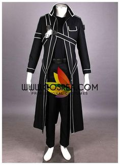 Costume Detail Sword Art Online Kirito Cosplay Costume Set Includes: Inner Top, Jacket, Pants, Harness Set, Belt, Gloves Please see individual tabs for information including: -available sizes for this