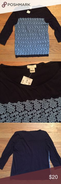 Navy & Baby Blue Floral Crochet Top Navy blue 3/4 sleeve top with baby blue crochet overlay. Size medium. New with tags from J Crew. J. Crew Tops Blouses