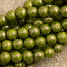 100 Czech 6mm Pressed Glass Round Opaque Olive Moon Dust Beads 53420MD