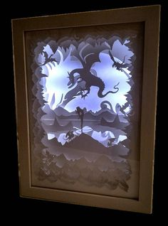 Lightbox LED paper night light glows in the dark LIGHT DIORAMA lamp in paper diorama 3D Shadow box interior furniture 3D framework  *****************************  The picture night light for dreamers to sleep. Will decorate any interior! Environmentally friendly gift: natural wood