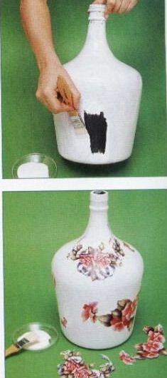 Resultado de imagen para how to fabric decoupage wine bottle Wine Bottle Art, Diy Bottle, Wine Bottle Crafts, Decoupage Vintage, Decoupage Glass, Altered Bottles, Recycled Bottles, Bottle Painting, Bottles And Jars