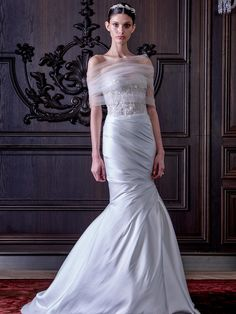 Monique Lhuillier beaded corset wedding dress with a trumpet skirt from Spring 2016