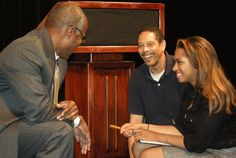 Director Jeffrey Madison lightens the mood for Ike (Jeff Blount) and Ruthie (Alli March). March, Mood, Mars