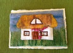 Postcard swap 'home theme'. Needle felted, machine and hand stitched