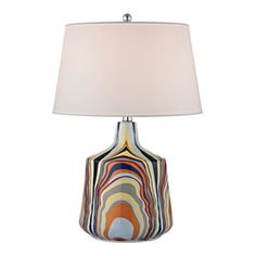 Add a touch of vintage-inspired flair to your credenza or console with this vibrant ceramic table lamp, showcasing abstract multi-color stripes and a tapered shade in crisp white.