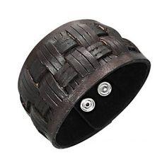 Bracelet cuir à bandes croisées