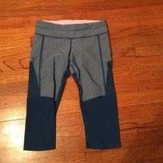 Lululemon leggings Lululemon leggings with mesh on the back and side of legs- worn a few times but in great condition! Leggings end right below the knee lululemon athletica Pants Leggings