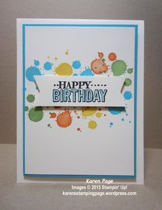 Birthday card made using Stampin' Up! Big Day stamp set from 2015 Sale-A-Bration, and Gorgeous Grunge stamp set