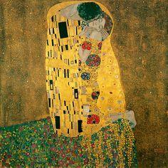 The Kiss (Lovers), oil and gold leaf on canvas, 1908–1909. Österreichische Galerie Belvedere, Vienna, 180 cm × 180 cm