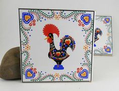 Vintage Block L.Silva Lucky Portugal Rooster Tiles / Set of Two #BlockLSilva $1.99 set of 2.