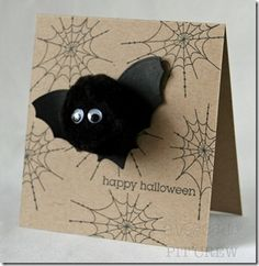 """Spider web & """"please join us"""" stamps. Invitation to bat birthday party."""