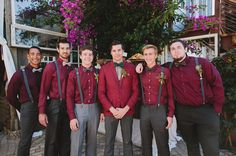im thinking something like this maybe? but the groomsmen in burgundy vests instead of shirts