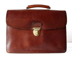 c346916dbd885 Vintage LANCASTER french real leather red brown BRIEFCASE PARIS. Leder TaschenEchtlederFranzösisches VintageLedergeldbörsen