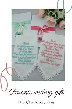 Wedding Hankerchief set for Mother of the Bride and Mother of the Groom from Bride Wedding Hankie Set Wedding Handkerchief set Mother in law Personalize with any text (Up to 30 words for the saying. Please, provide all information in the ETSY message box). LASE • 100 % handmade, crochet lace SIZE • 11,8 x 11,8 – 30 cm x 30 cm MATERIALS • 100% Cotton – Batista Wedding Gifts For Parents, Mother Of The Groom Gifts, Best Wedding Gifts, Mother Of The Bride, Wedding Bride, Wedding Day, Spring Wedding, Wedding Mint Green, Wedding Planning Guide