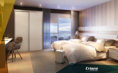 Ambiente Criare Móveis idealizado para hotel. Acolhedor e repleto de personalidade. Os madeirados são Brandy e os puxadores Slim.