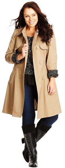 Plus Size Camel Trench Coat