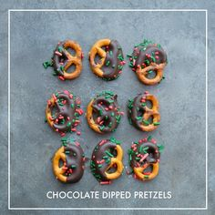 Chocolate Dipped Pretzels with Sprinkles on Shutterbean.com! Homemade Desserts, Best Dessert Recipes, Fun Desserts, Savory Snacks, Vegan Snacks, Chocolate Dipped Pretzels, Pretzel Dip, Xmas Cookies, Recipe From Scratch