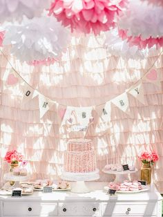 like the Cake , banner and backdrop. Baby Girl Shower!
