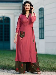 Buy Prachi Desai Pink Embroidered Palazzo Set online, SKU Code: This Pink color After Six indowestern sets and suits for Women comes with Sequins Blended Cotton. Khadi Kurta, Plazo Kurti, Churidar, Salwar Kameez, Palazzo With Kurti, Palazzo Jumpsuit, Palazzo Style, Kids Dress Patterns, Kurti Patterns