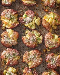 All types of potatoes make top-notch holiday side dishes, but these fried smashed taters are among our favorites. #traditionalchristmasdinner #holidaydinnermenu #classicchristmasdinnerideas #familydinner #bhg