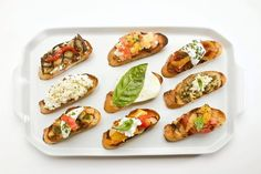 Great idea for your toaster oven: set up a bruschetta bar at your next party!