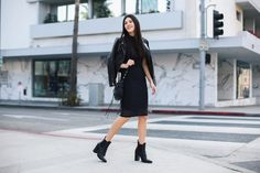 Fall Fashion Chic Moto Leather Jacket All Black Mesh Booties