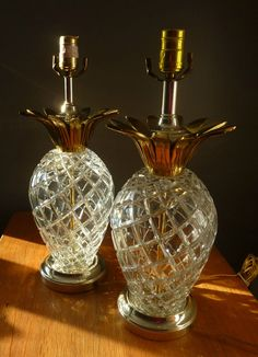 Pair of Glamorous Vintage Hollywood Regency Czechoslovakian Cut Lead Crystal and Brass Pineapple Table Lamps. $200.00, via Etsy.