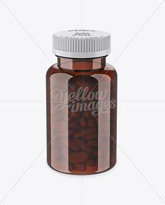 Amber Pill Bottle Mockup (High-Angle Shot)