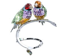 Swarovski Gouldian Finches sparkles in fresh and vibrant colors such as Peridot and Violet crystal. Fantastic as a stand-alone piece or grouped together with any other colored crystal nature pieces, the birds perch on a silver-tone metal display.