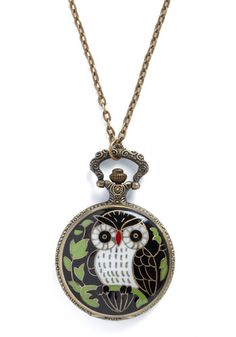 Owl Clock Necklace! Owls are said to be wise so checking time and keeping track is a wise thing to do.