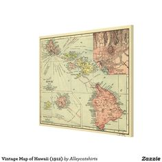 Vintage Map of Hawaii (1912) Canvas Print