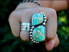 Turquoise Statement Ring, Two Stone Turquoise Ring, Big Ring, Turquoise Jewelry, Boho Chic, Bohemian,  Handmade Jewelry, Size 8.25