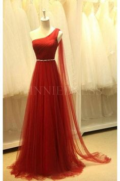 Shop discount Red One Shoulder Long Pleated Tulle A-line Empire Prom Dress WNPD0456